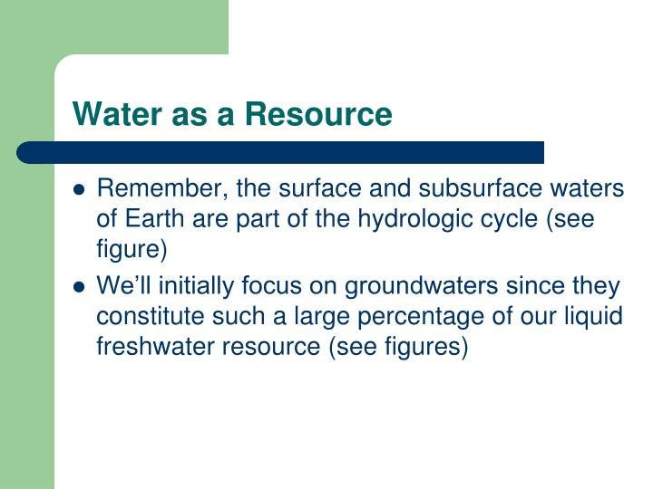 Water as a Resource