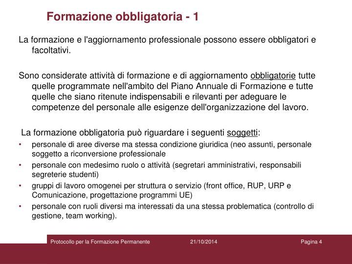 Formazione obbligatoria - 1