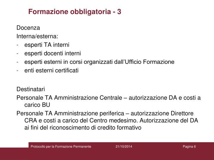 Formazione obbligatoria - 3