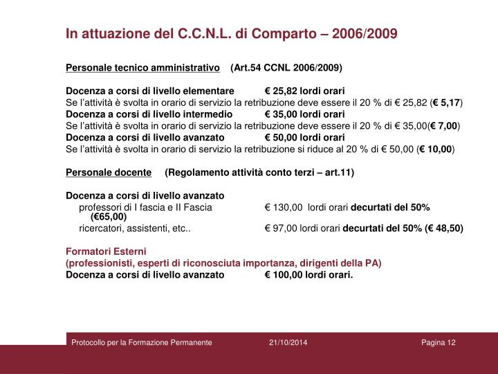 In attuazione del C.C.N.L. di Comparto – 2006/2009