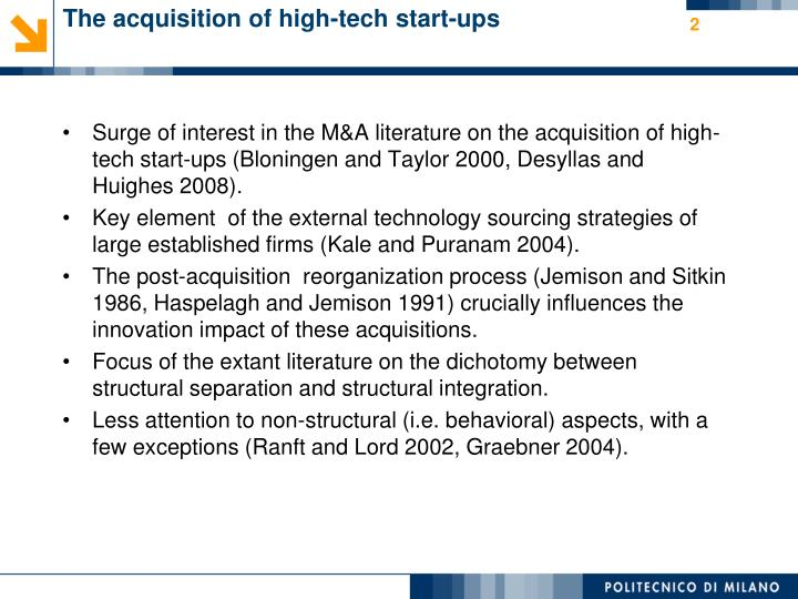 The acquisition of high tech start ups