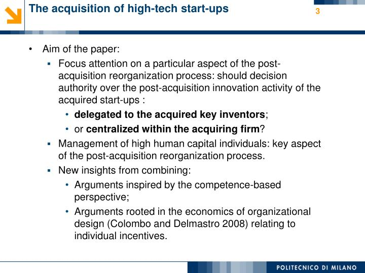 The acquisition of high tech start ups1