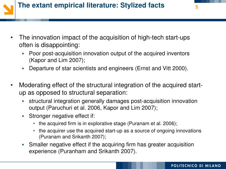 The extant empirical literature: Stylized facts