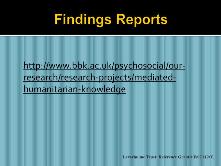 Findings Reports