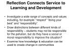 reflection connects service to learning and development