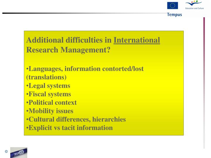 Additional difficulties in