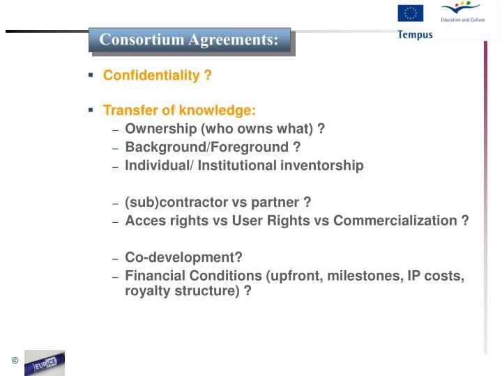 Consortium Agreements: