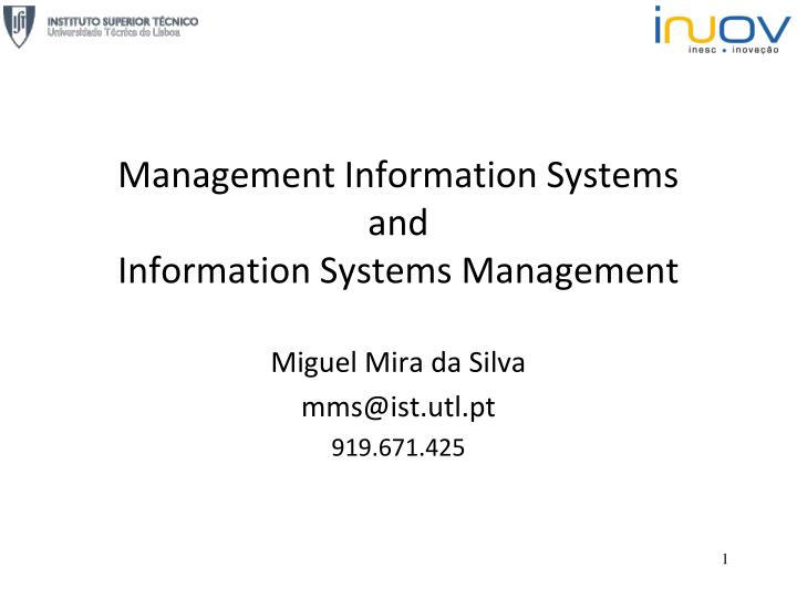 management information systems and information systems management n.
