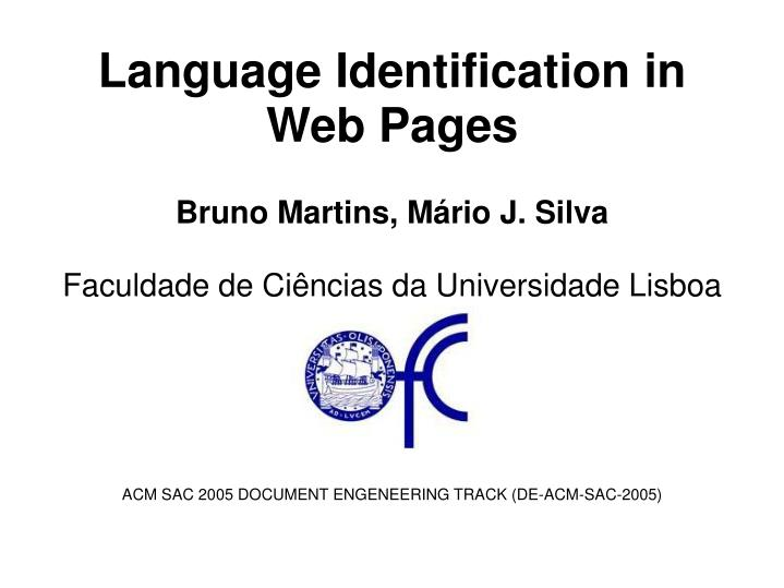 Language identification in web pages