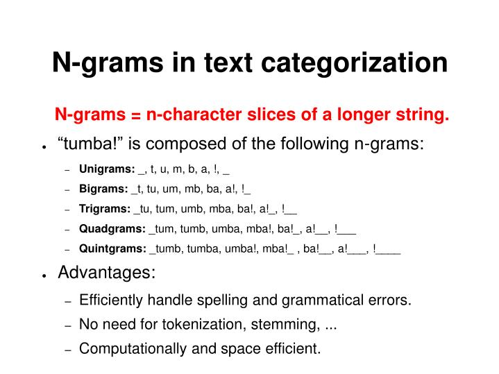 N-grams in text categorization