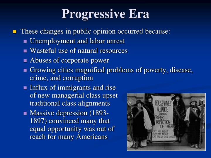 an analysis of progressive erra Analysis of roosevelt's progressive era the progressive era provided a solid effort to improve the life of americans by emerging presidents and multiple reforms through the progressive politicians, trusts were busted and relief was given to small businesses.