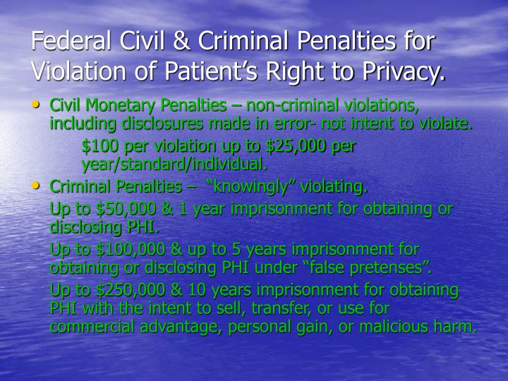 Federal Civil & Criminal Penalties for Violation of Patient's Right to Privacy.