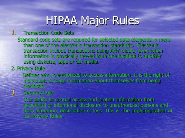 Hipaa major rules