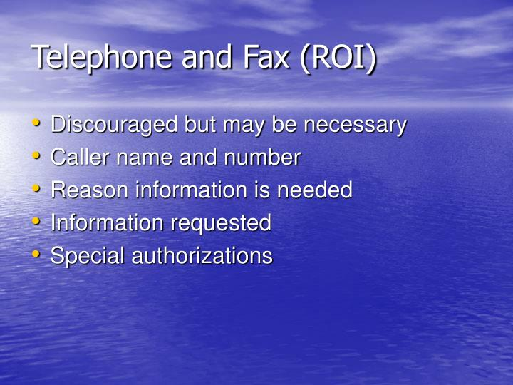 Telephone and Fax (ROI)