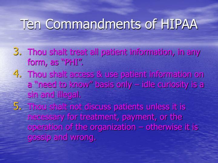 Ten Commandments of HIPAA