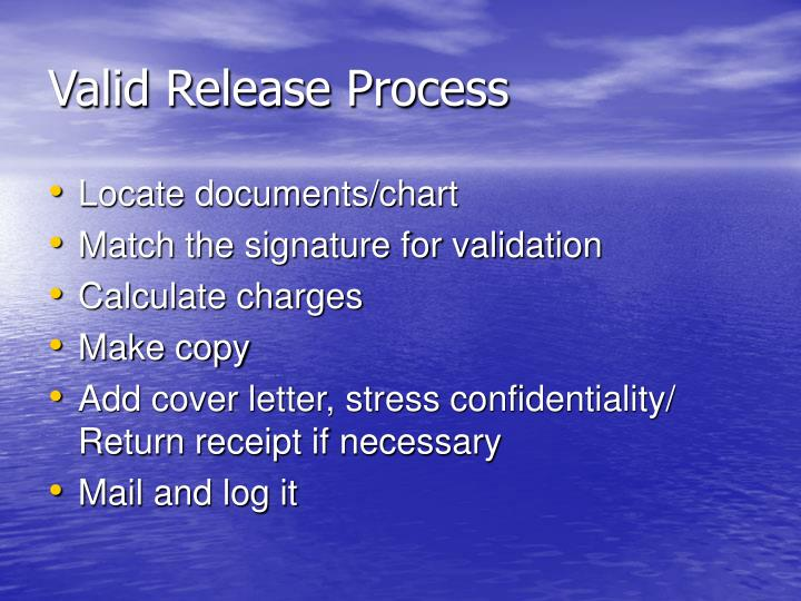 Valid Release Process