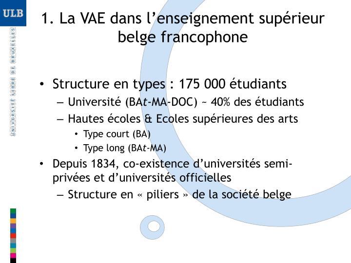1 la vae dans l enseignement sup rieur belge francophone
