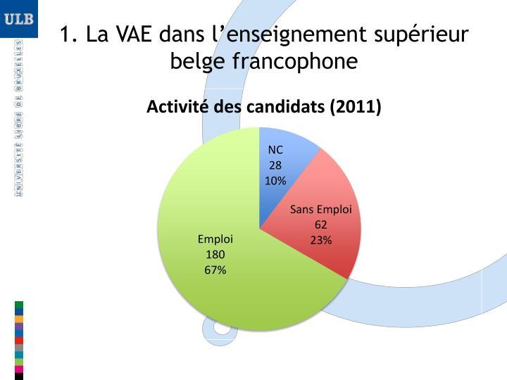1. La VAE dans l'enseignement supérieur belge francophone