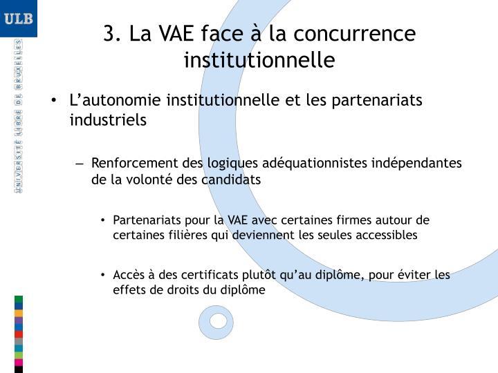 3. La VAE face à la concurrence institutionnelle
