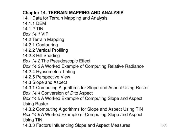 PPT - Chapter 14. TERRAIN MAPPING AND ANALYSIS 14.1 Data for Terrain ...