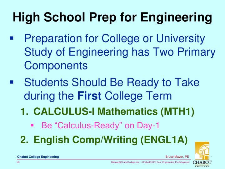 High School Prep for Engineering