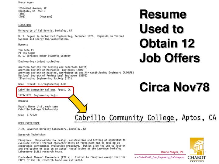 Resume Used to Obtain 12 Job Offers