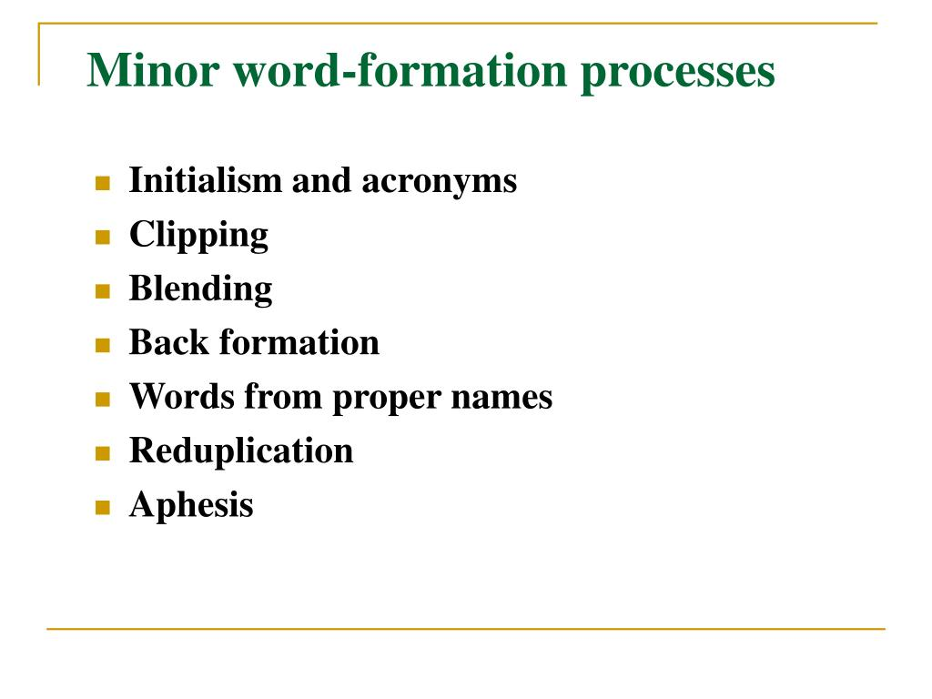 PPT - English Lexicology Morphological Processes (III