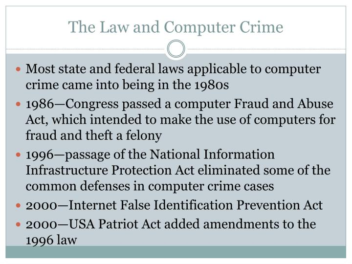 The Law and Computer Crime