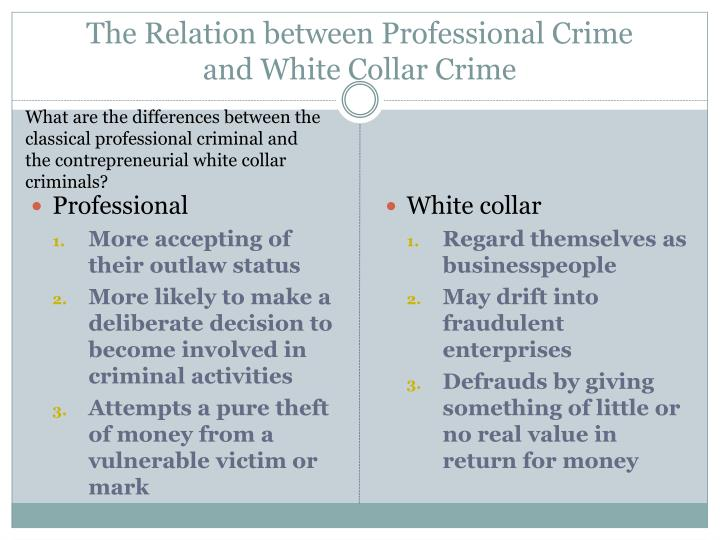 The Relation between Professional Crime