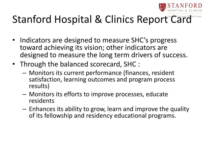 Stanford Hospital & Clinics Report Card