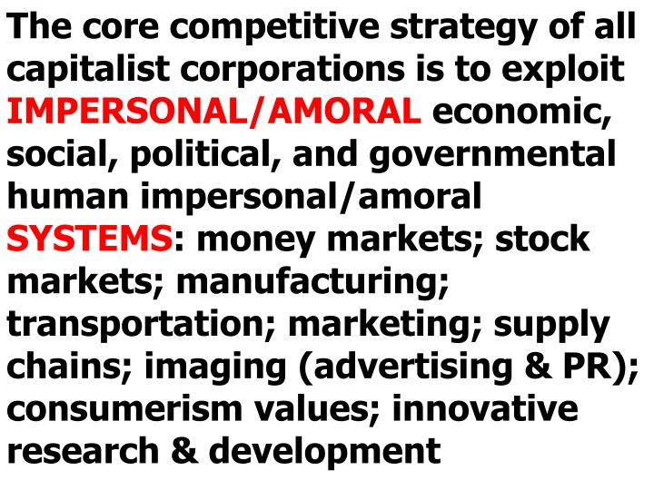 The core competitive strategy of all capitalist corporations is to exploit