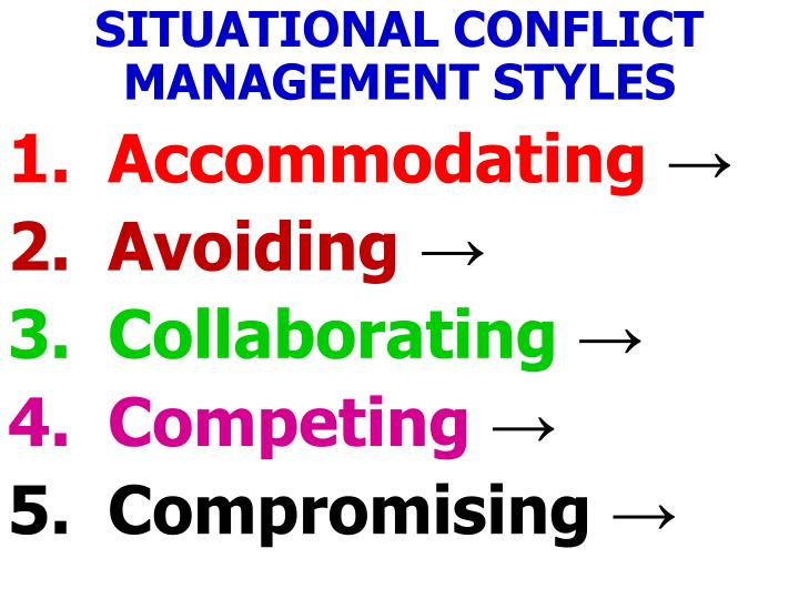 SITUATIONAL CONFLICT MANAGEMENT STYLES