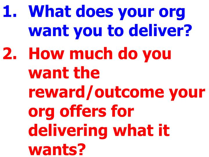 What does your org want you to deliver?