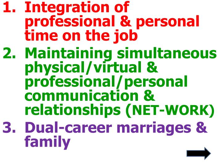 Integration of professional & personal time on the job