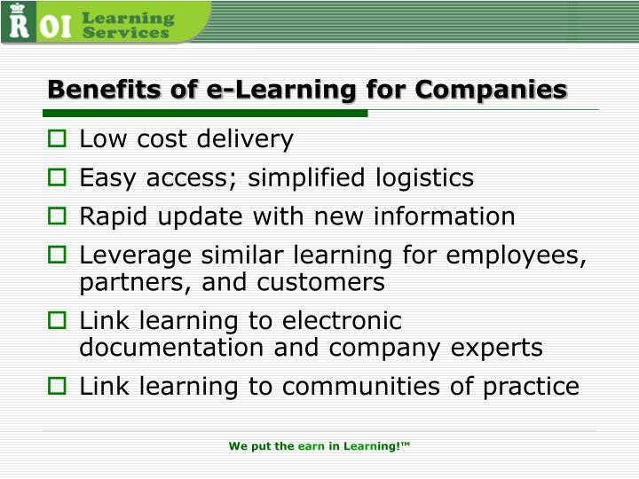 Benefits of e-Learning for Companies