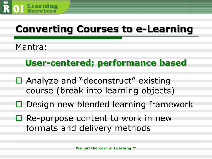 Converting Courses to e-Learning