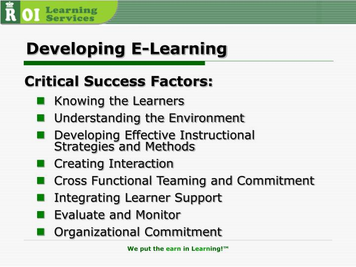 Developing E-Learning