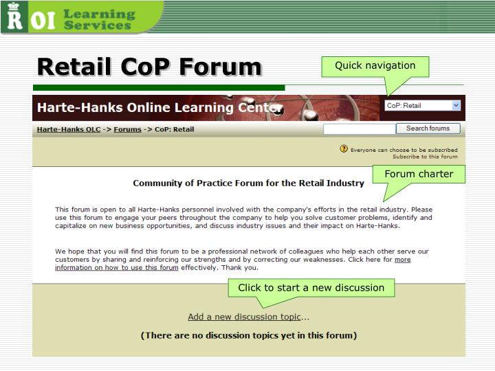 Retail CoP Forum