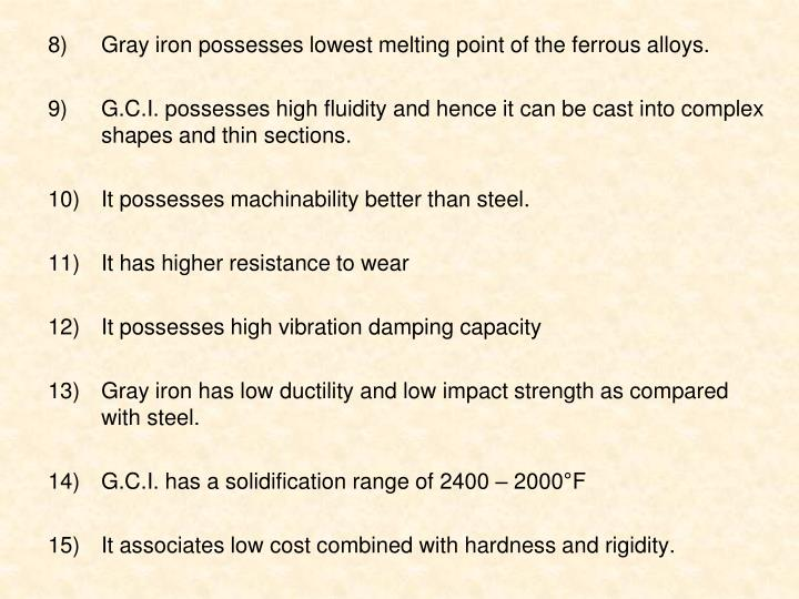 Gray iron possesses lowest melting point of the ferrous alloys.