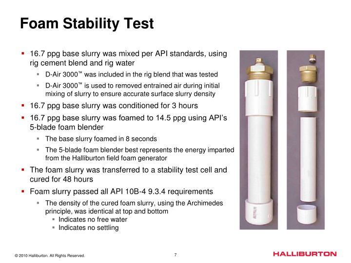 Foam Stability Test