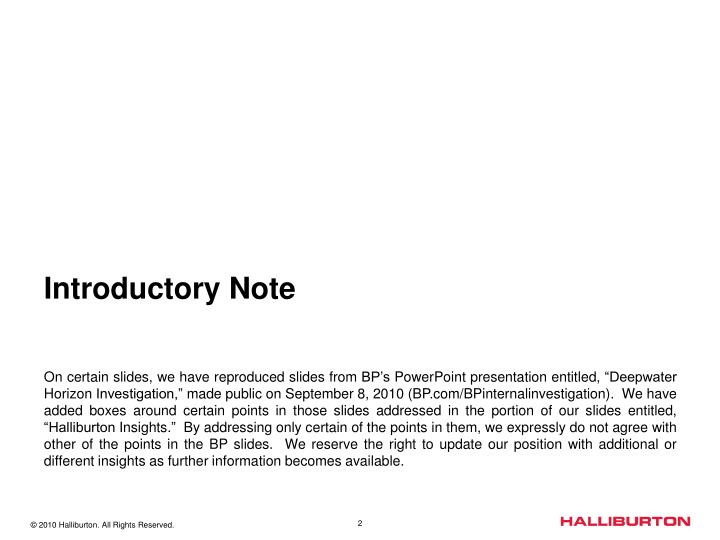 Introductory note