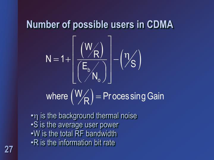 Number of possible users in CDMA