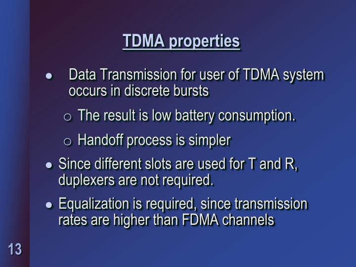 TDMA properties