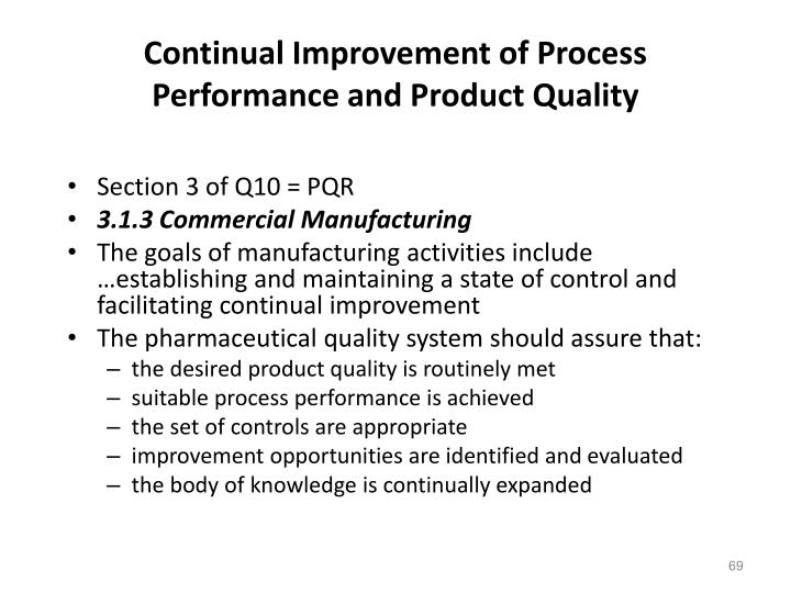 Continual Improvement of Process Performance and Product Quality