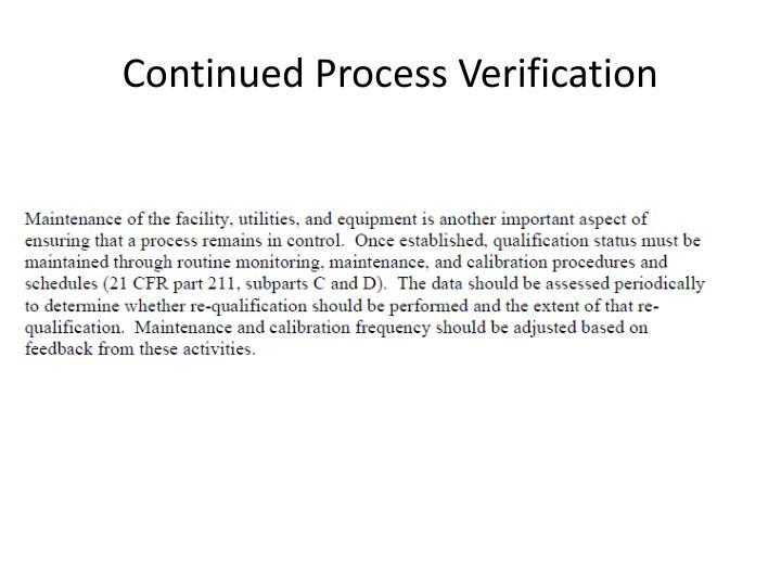 Continued Process Verification