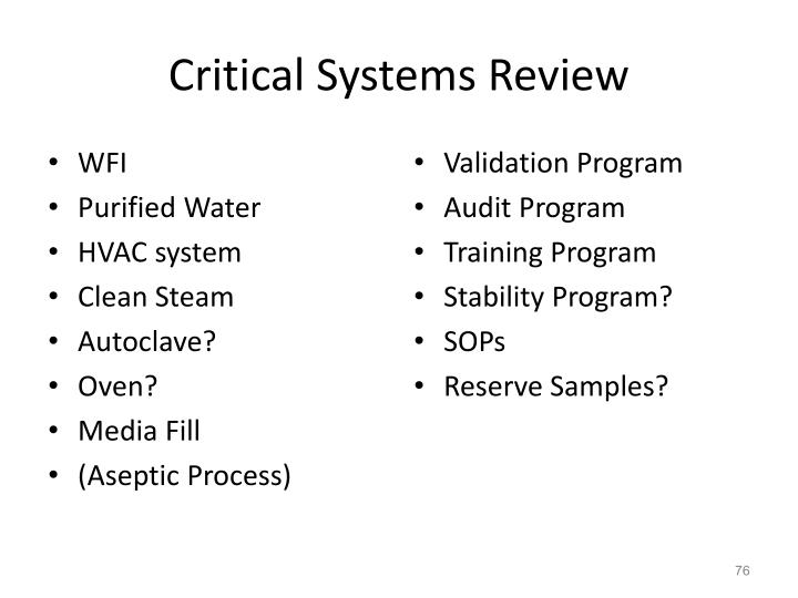 Critical Systems Review