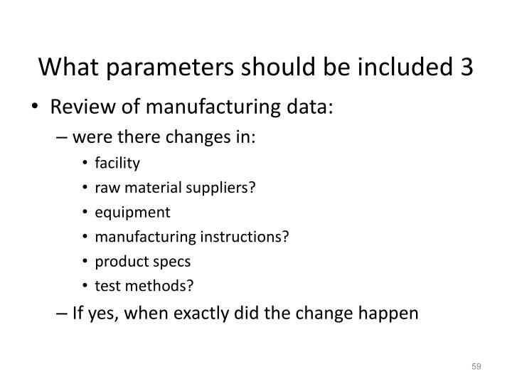 What parameters should be included 3