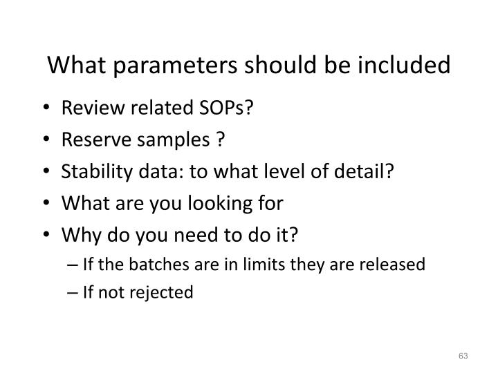 What parameters should be included