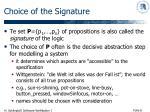 choice of the signature