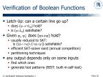 verification of boolean functions